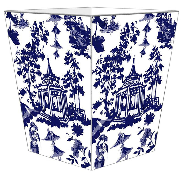 Chinoiserie Pagoda in Blue Wastepaper Basket