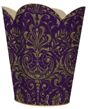 Purple & Gold Damask Wastebasket - CITY LIFE CATALOG