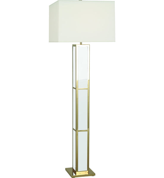 Barcelona Black Opaque Acrylic & Polished Brass Floor Lamp | White