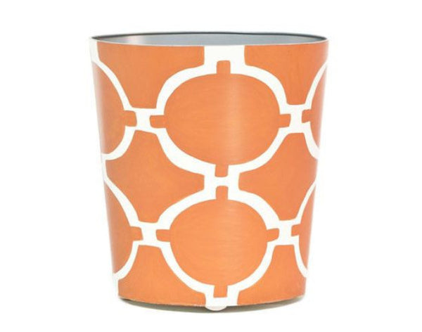 Acadia Orange and Cream Oval Wastebasket - GDH | The decorators department Store