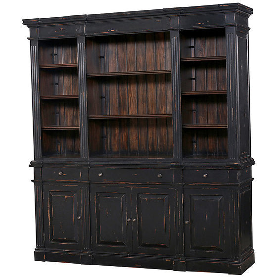 Roosevelt Estate Bookcase in Black Distressed