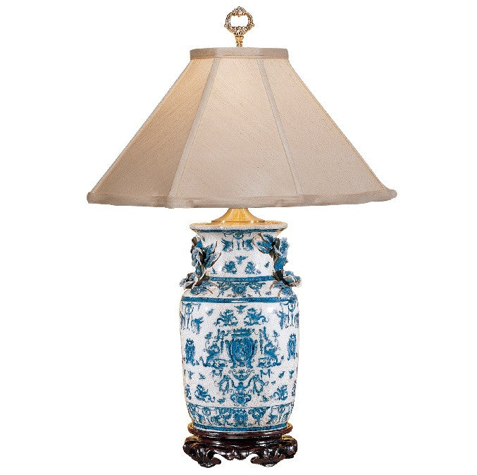 Blue White Table Lamp with Dragons