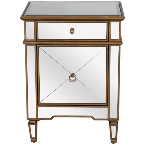 Claudette Mirrored Nightstand in Gold - GDH | The decorators department Store