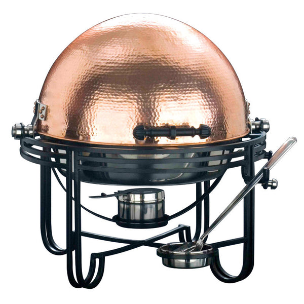6 Qt. Round Roll Top Chafer with Hammered Copper Cover - GDH | The decorators department Store