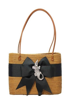 Hanging Straw Purse in Black with Alligator Motif - GDH | The decorators department Store