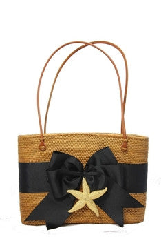 Hanging Straw Purse in Black with Starfish Motif - GDH | The decorators department Store