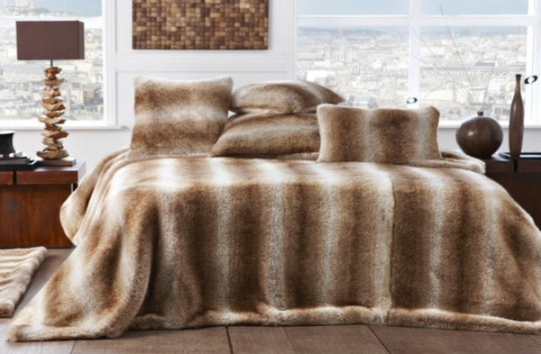 Faux Fur Bed Coverlet | Latte - GDH | The decorators department Store