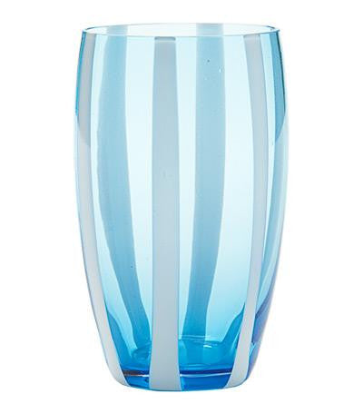 Gessato Beverage Glass S/2 | Aquamarine
