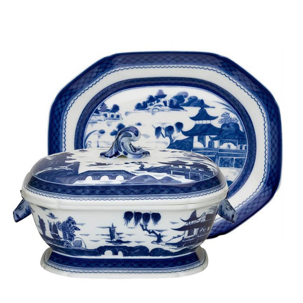 Mottahedeh Blue Canton Octagonal Tureen and Stand