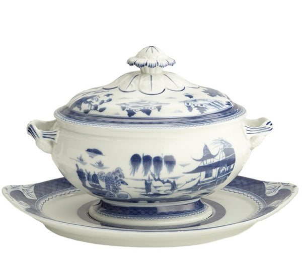 Mottahedeh Blue Canton Oval Tureen & Stand