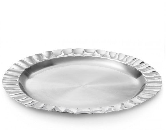 Silhouette Scalloped Round Tray 15""