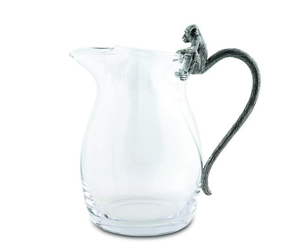 Glass Pitcher with Pewter Monkey Handle