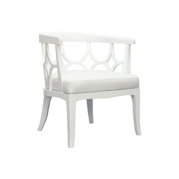 Campbell Barrel Back Lacquer Chair  | White - GDH | The decorators department Store