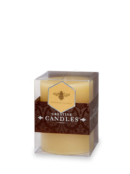 "Pillar Candle 4"" - Beeswax Natural- Set of Two"