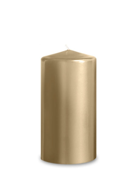 "Metallic Hurricane Pillar Candles 3"" x 6""-Set of 2 
