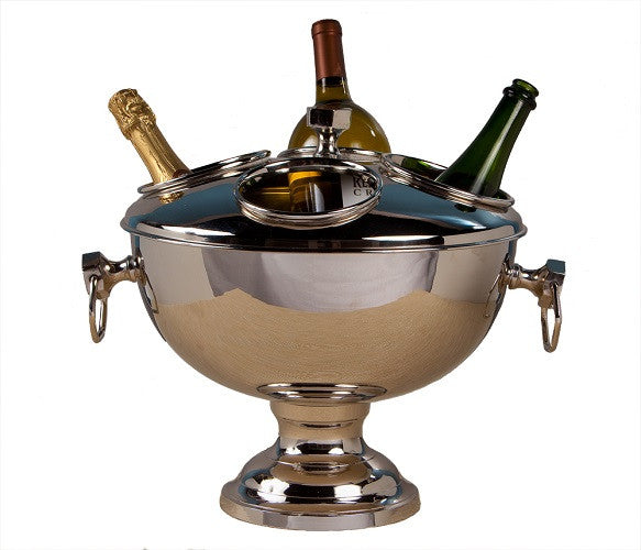 Nickel Plated Brass 4 Bottle Wine Cooler