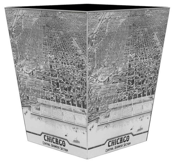 Antique Chicago Map Wastepaper Basket