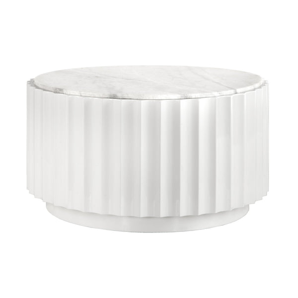Clove-White Lacquer Scalloped Round Coffee Table - GDH | The decorators department Store