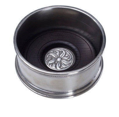 Match Pewter Wine Bottle Coaster w/Wood Insert