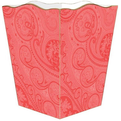 Coral Paisley Wastepaper-Basket - GDH | The decorators department Store