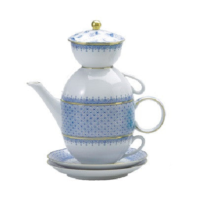 Mottahedeh Cornflower Lace Tea for Two - GDH | The decorators department Store