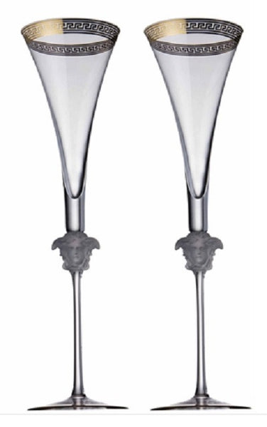 Versace Medusa D'Or Champagne Flute - Set of 2 - GDH | The decorators department Store