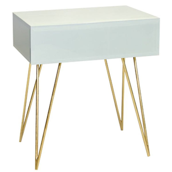 Debra One Drawer Side Table | WHITE - GDH | The decorators department Store