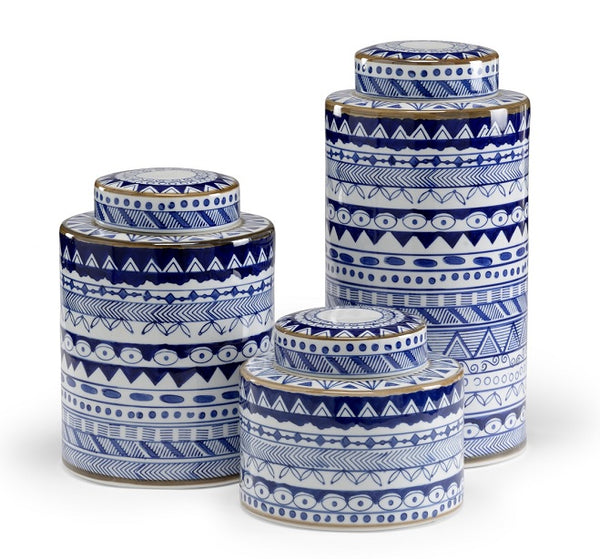 BLUE AND WHITE PORCELAIN CANISTERS