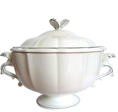 Gien Filets Taupe Soup Tureen / Covered Vegetable