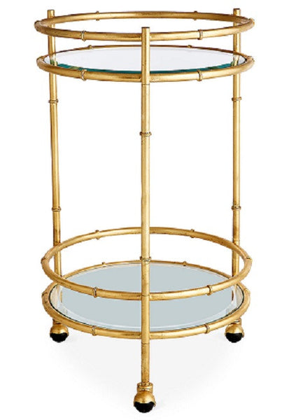 Gold Bamboo Round Bar Cart