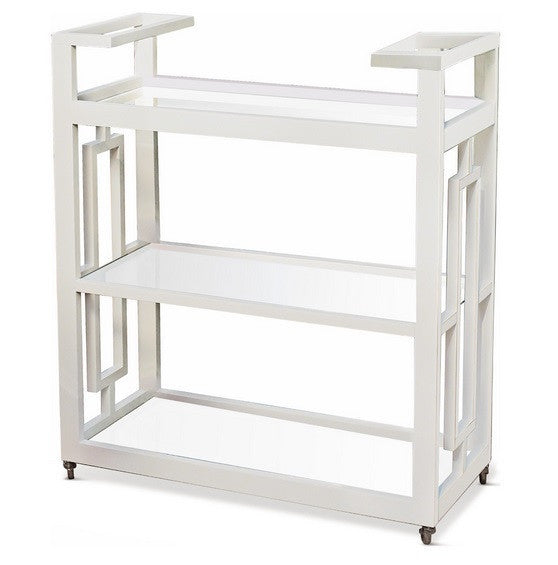 Grid Block Bar Cart-White - GDH | The decorators department Store