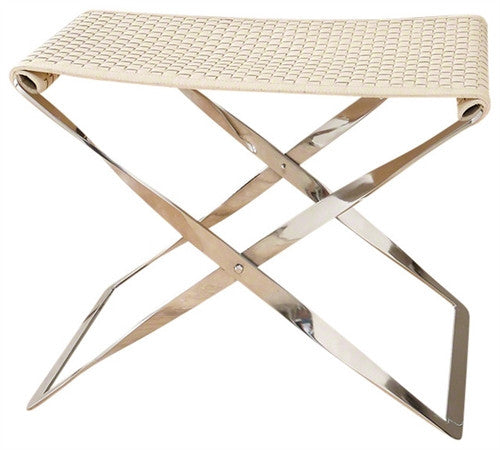 Global Views Woven Leather Folding Bench-Ivory - GDH | The decorators department Store