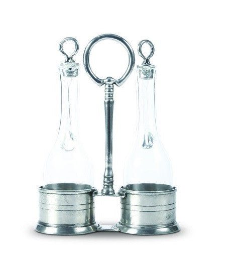 Oil and Vinegar in Pewter Caddy by Vagabond House