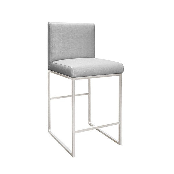 Kingston Nickel Counter Stool | Grey