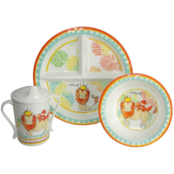 King Of The Jungle Round Sectioned Plate Set/4
