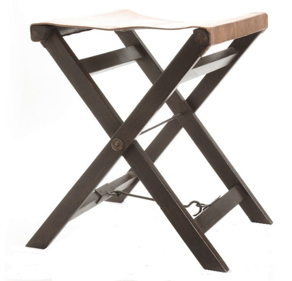 Folding Leather And Wood Camp Stool - GDH | The decorators department Store
