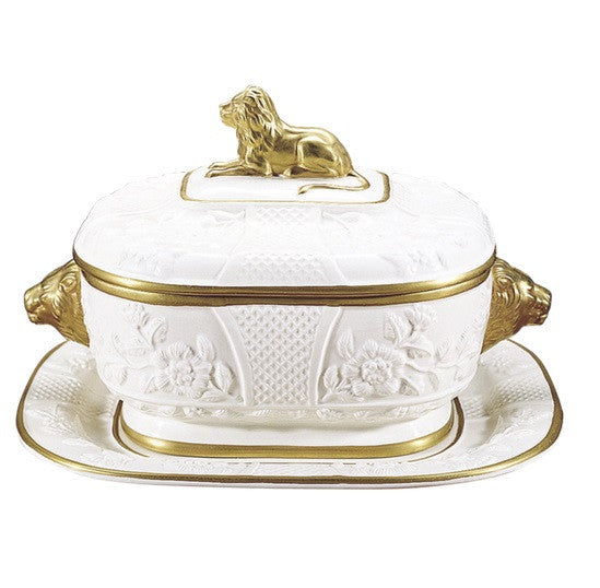 Mottahedeh Lion Tureen and Stand w/ Gold Trim