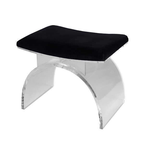 MARLOWE LUCITE ARCHED STOOL| BLACK