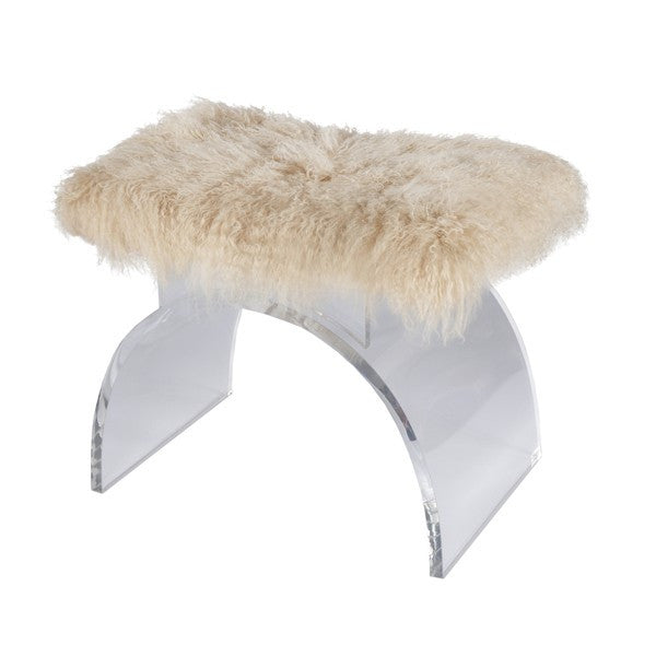 MARLOWE LUCITE ARCHED STOOL |  FUR