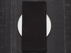 Chilewich Single-Sided Linen Napkins-Set of 8  | Black