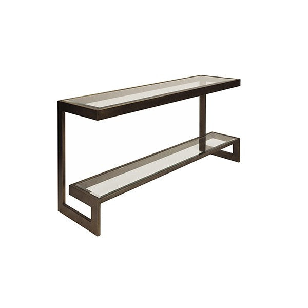 2 Tier Low Console with Beveled Glass Shelves | Bronze