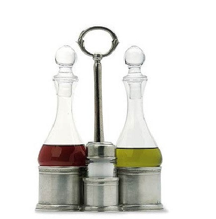 Match Pewter Oil and Vinegar/Salt and Pepper Caddy