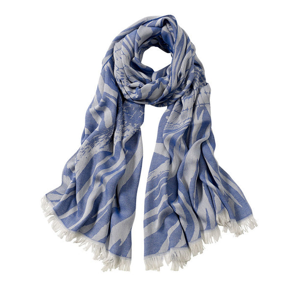 AVvOLTO Blue Zebra Patchwork Scarf - GDH | The decorators department Store