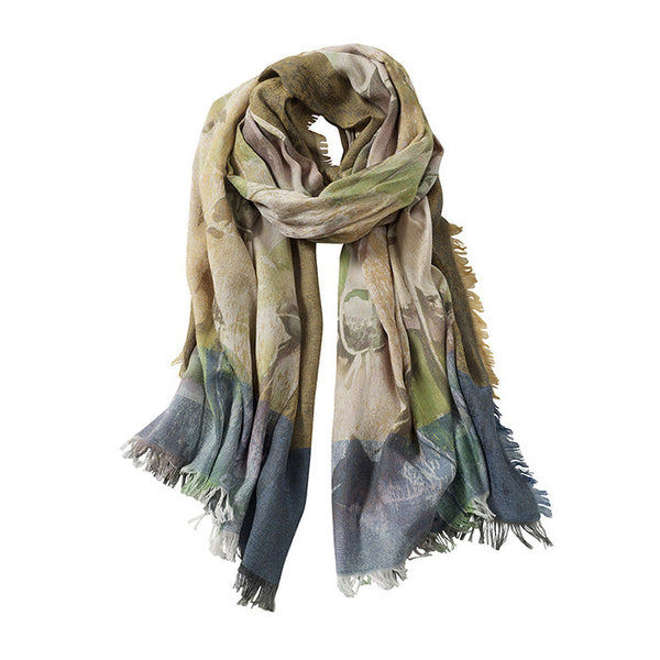 AVvOLTO Floral Digital Printed Scarf, Green - GDH | The decorators department Store