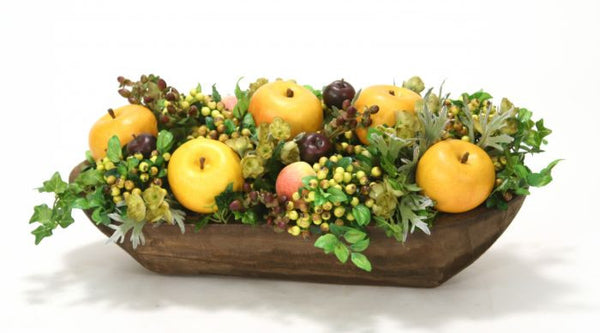 Yellow Apples, Berries and Artichokes in Wooden Bowl