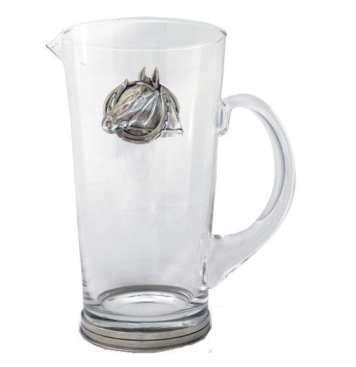 Equestrian Horseshoe Glass Pitcher