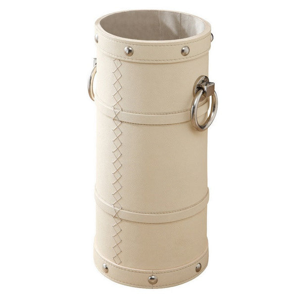 Leather and Ring Umbrella Bucket-Ivory