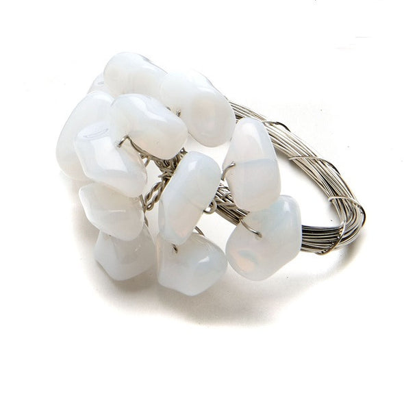 Rock Cluster Napkin Rings S/4 | White