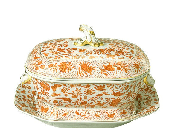 Mottahedeh Sacred Bird & Butterfly Octagonal Tureen and Platter