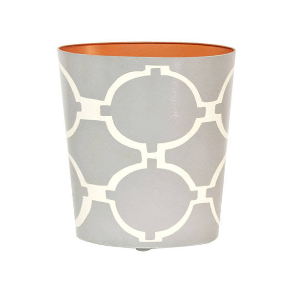 Acadia Grey and Cream Oval Wastebasket - GDH | The decorators department Store